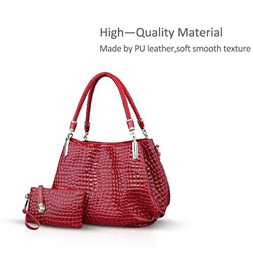 Shoulder Leather Nicole Crocodile PU amp;Doris Crossbody Wine Large Red Ladies New Bag Handbag Totes Grain Women Bag xT8UFX8qrw