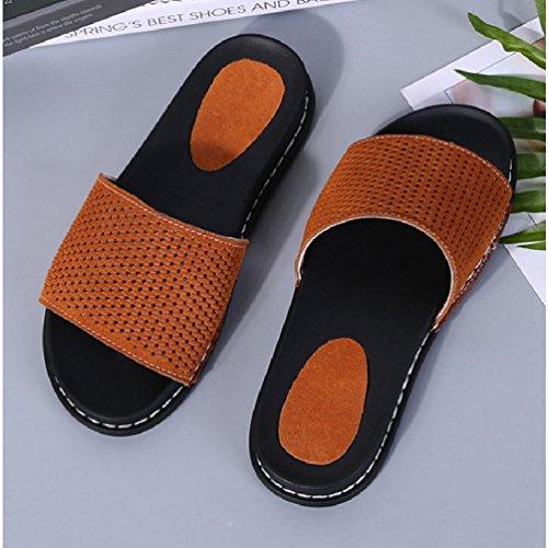 Mules Claquette Microfibre Femmes Slipper Pantoufles Tissage Antidérapante Flip Plat Flop Sandales Fourrure Souple Marron Fausse qqwrdC