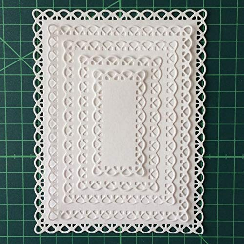 Letmefun Nested Stitched Scallop Rectangle Frame Cutting Dies, Metal Cutting Dies Stencils DIY Etched Dies Craft Paper Card Making Scrapbooking Embossing 10.7X13.9 cm