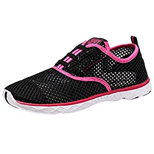 Aleader Women's Quick Drying Aqua Water Shoes Black/Red 7.5 D(M) US