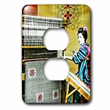 Scenes from the Past Magic Lantern Slides - Vintage Japanese Woman Weaving a Beautiful Rug Hand Colored - Light Switch Covers - 2 plug outlet cover (lsp_246812_6)