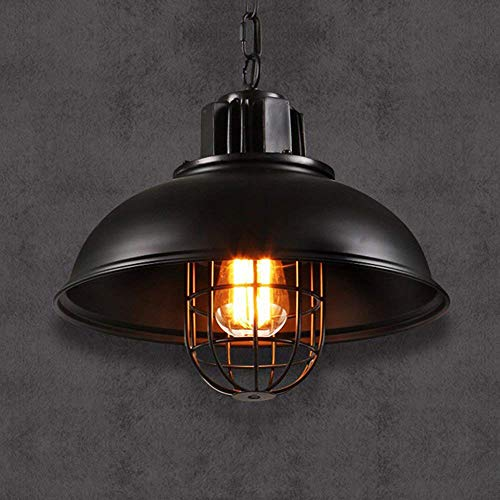 (XAJGW Vintage Industrial Nautical Fishermans Black Hanging Ceiling Lamp Shade Pendant Light)