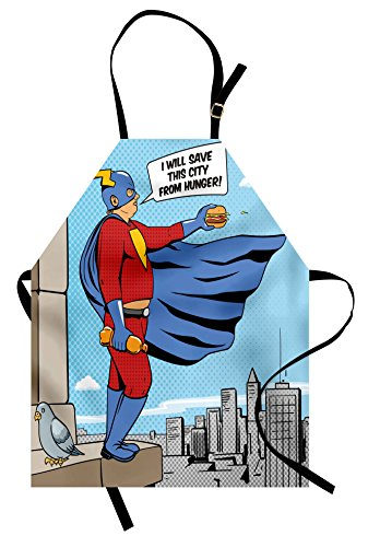 Lunarable Retro Apron, Superhero Fat Man with Burger on Building Cartoon Pop Art Comic Book Design Artwork, Unisex Kitchen Bib Apron with Adjustable Neck for Cooking Baking Gardening, (Comic Book Pop Art Costume)