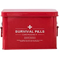 Housewares First Aid Box, Vintage Style Medicine Storage Organiser (Color : Red, Size : M)