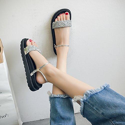 Dedo de la El cómodas Sandalias de Sandalias de pie se Antideslizantes Divierte del del Verano Las Playa Las silvery Las YMFIE Mujeres H8xwPqH