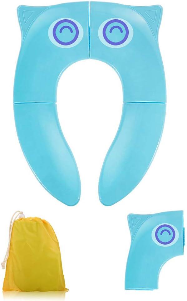 Asiento de entrenamiento plegable para viaje asiento de inodoro port/átil port/átil Asientos de inodoro Cubiertas de forro con almohadillas antideslizantes y bolsa