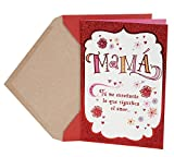 "Send a Valentine's Day greeting to Mom with this card featuring illustrated floral and heart accents on a white background with ogee border with a solid field of red flitter beyond. The message on the front of the card reads, ""Mamá Tú me ense..."