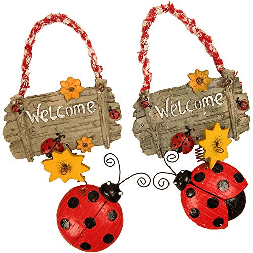 MASSJOY 2pcs Welcome Sign for Front Door Yard Home Decoration, Cute Ladybug Welcome Decor for Door House Warming Gifts. - Ladybug Welcome Sign