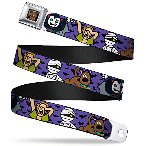 Buckle-Down Seatbelt Belt - Mini Scooby Doo Halloween/Bats Purple/Black - 1.0