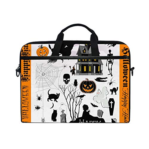 KEAKIA Halloween Town Laptop Bag Shoulder Messenger Bag Simplicity Slim Briefcase Commuter Bag Case Business Sleeve Carrying Handle Bag for 14 inch to 15.6 inch Laptop Notebook ()