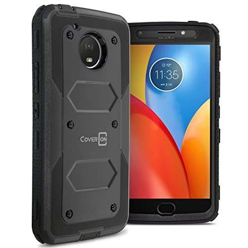 Moto E4 Plus Case (USA Version Only), CoverON Tank Series Full Body Front and Back Heavy Duty Hard Protective Phone Cover - Black