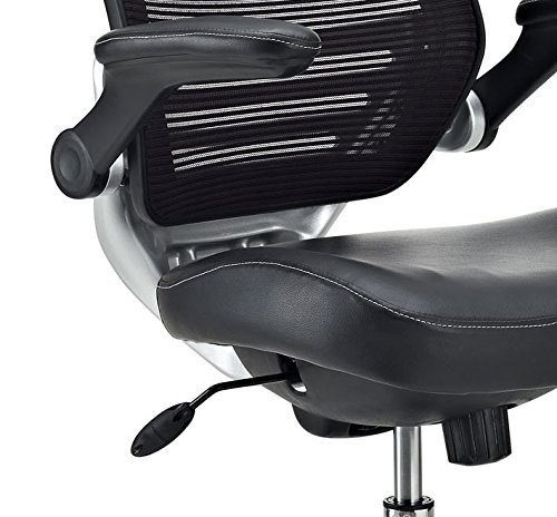 Modway Edge Drafting Chair In Black Vinyl   Reception Desk Chair   Tall  Office Chair For Adjustable Standing Desks   Flip Up Arm Drafting Table  Chair ...