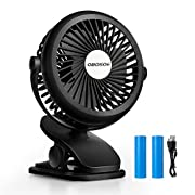 OBOSOE Portable Fan, Clip on & Desk Personal Small Fan with 360 Degree Rotation, USB Rechargeable Battery Operated Electric Fan for Car, Stroller, Office, Bedroom, Traveling, Camping, Black