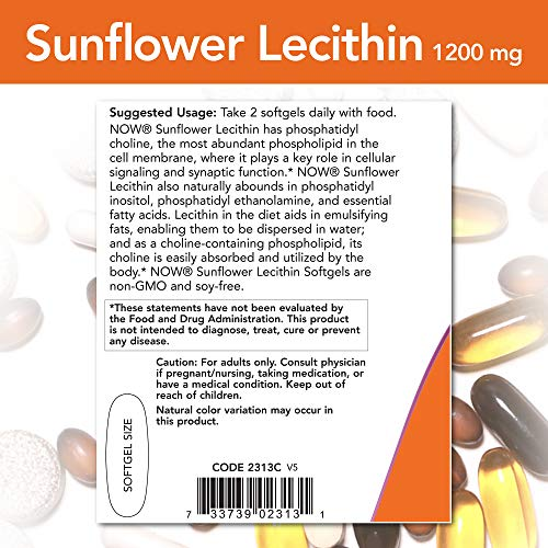 NOW Foods Supplements, Sunflower Lecithin 1200 mg with Phosphatidyl Choline, 200 Softgels