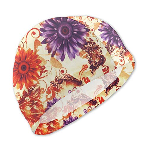 - Smany The Beautiful of Art Fabric Batik Pattern Kids Swim Caps,High Elasticity, No Deformation Use,UV Protection, Waterproof Comfy Swimming Bathing Cap for Short and Long Hair