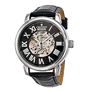 Croton Imperial Stainless Steel Skeleton Automatic Leather Mens Watch CI331072BSSL