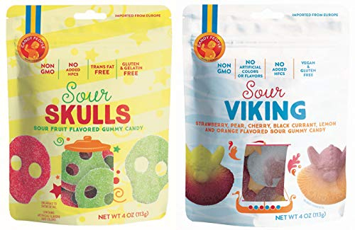 - Candy People Sour Skulls and Vikings Sour Fruit Flavored Swedish Gummy Candy 4 Ounce – Non-GMO, No Added High Fructose Corn Syrup (2 Pack)