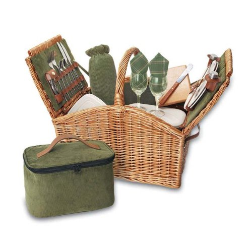 (Somerset - English Style Willow Deluxe Basket Green)
