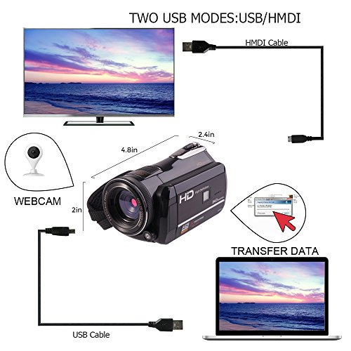 Camcorders, Full HD 1080P 30FPS Wifi Camcorder DVR Handy Video Camera Recorder with Infrared Night Vision, 3'' Touchscreen, IR Remote Control, 18X Digital Zoom and 72mm Ultra HD Wide Angle Lens by LAKASARA (Image #5)