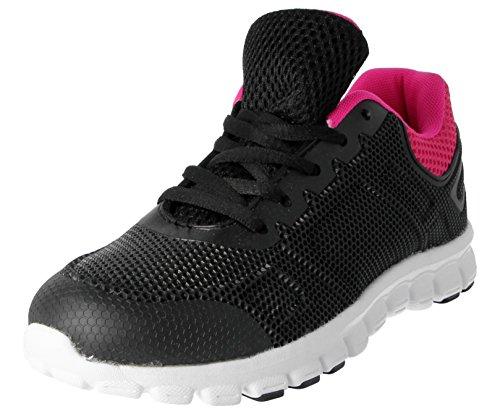 comodidad gimnasio Mesh deportes running Fuchsia Casual Black Mesh Ladies de Zapatillas Up Formadores 816109 Lace ligero nbsp;Galop g44RvTqS8