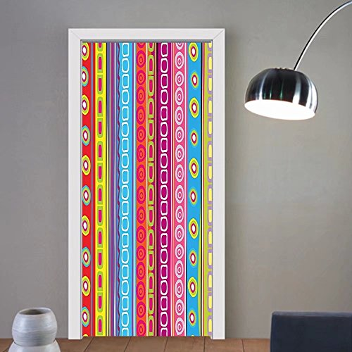Gzhihine custom made 3d door stickers Striped Colorful Summer Spring Retro Patchwork Style Pattern Sunflowers Butterflies Strawberry Decor Multicolor For Room Decor 30x79 by Gzhihine