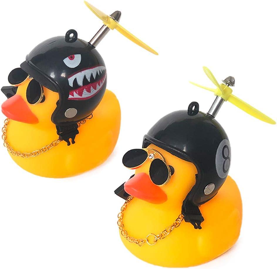 DANUC Rubber Ducky Car Dashboard Decorations Rubber Duckie Shark Helmet Duck Car Dash Interior Ornament Accessories Décor Toy for Men Women Kids Boy Girls 2pcs