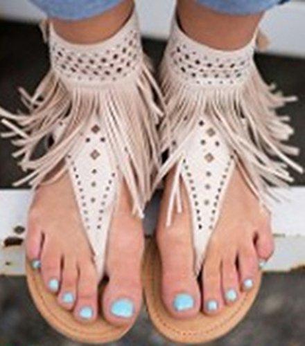 NiSeng Mujer Verano Borlas Plana Sandalias Diamante De Imitación Con Cuentas Zapatos Clip Toe Zapatillas Sandals Beige