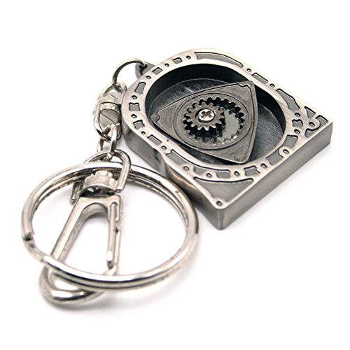 Parts Engine Auto - Waterwood Creative Auto Part Model Spinning Rotary Engine KeyChain Key Chain Ring-Titanium