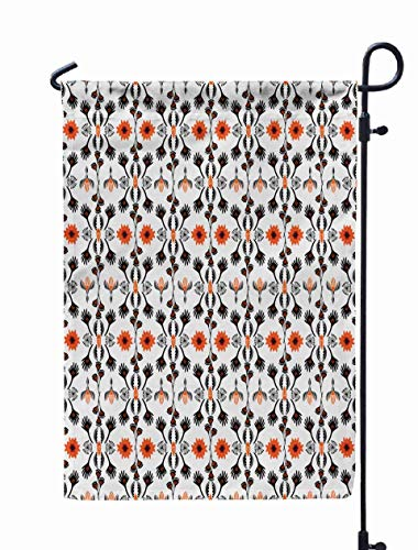 Jacrane Welcome Small Garden Flag 12X18 Inches Bohemian Striped Floral Pattern Drawn Folk Style Flower Ethnic Fashion Prints Stationery Trendy Double-Sided Seasonal House Yard Flags ()