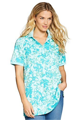 Woman Within Plus Size Perfect Printed Polo T-Shirt