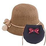 Baby Straw Hat Summer Girls Hat Purse Set Beach Floppy Hats Kids Sun Hat with Bag (Black)