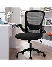 Office Chair Human Mesh Computer Chair, Ergonomic Office Chair Rotating and Rolling Executive Office Desk Chair Task with Flip Arm and Lumbar Support Home Office, Black