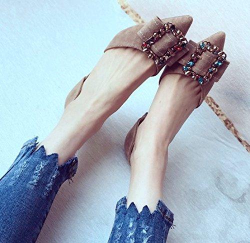 Sandalias 37 Arco de Ajunr Zapatos altos elegante Diamante Transpirable superficial tacones Señaló Suede Moda Hebilla 37 Boca 6cm Albaricoque hueco xxvHZwtq