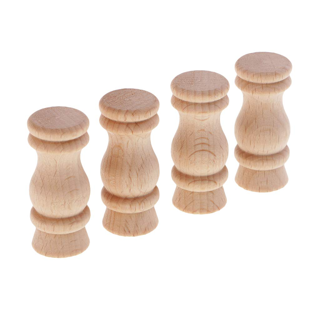 Baosity 4 Pieces Carved Wooden Column Wood Craft for Corridor Bridge Wood Fence BedHead Cabinets Furniture Handmade Home Furnishing Decoration - 40x18mm