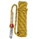 Aoneky 10 mm Static Outdoor Rock Climbing Rope, Fire Escape Safety Rappelling Rope (Yellow 1, 98)