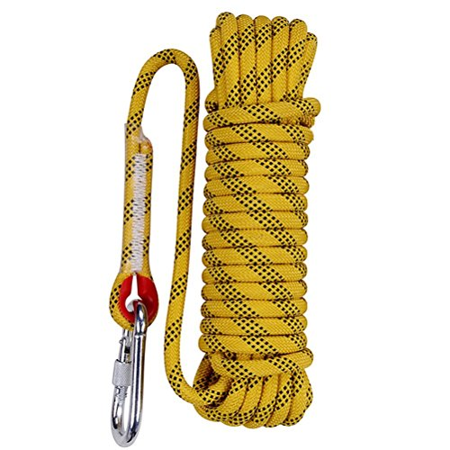Aoneky 10 mm Static Outdoor Rock Climbing Rope, Fire Escape Safety Rappelling Rope (Yellow 1, 98) by Aoneky