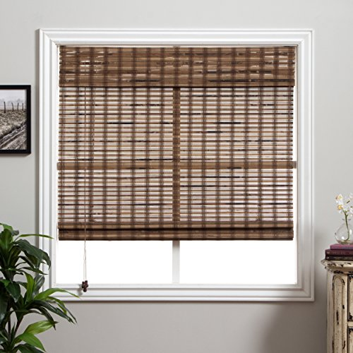 1 Piece 73''Wx74''L Multi Black Grain Brown Ochre Tan Natural Wood Pull Up Bamboo Blind Eco Friendly Rustic Roman Horizontal Slat With Built In Valance Nature Window Treatment Allows Gentle Sunlight by PH (Image #1)
