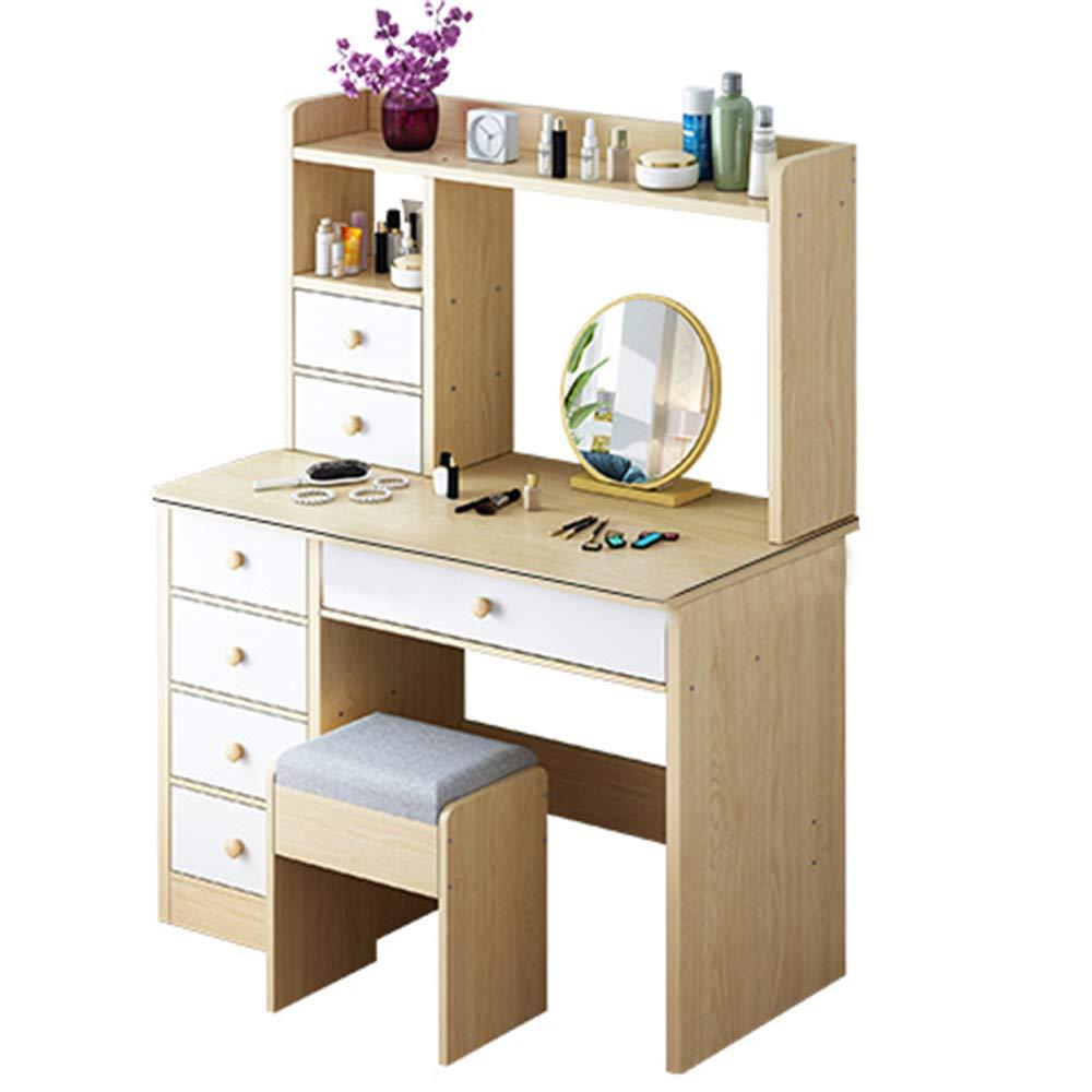OTENGD Kosmetikset mit Spiegel und Hocker, Schminktisch mit 6 Schubladen, 2 Trennwände, multifunktional, einfach zu montieren, Kommode für Damen