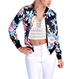 Hongxander Women Slim Bomber Jacket Classic Quilted Floral Print Biker Windbreaker Colorful Lightweight Short Jacket (M)