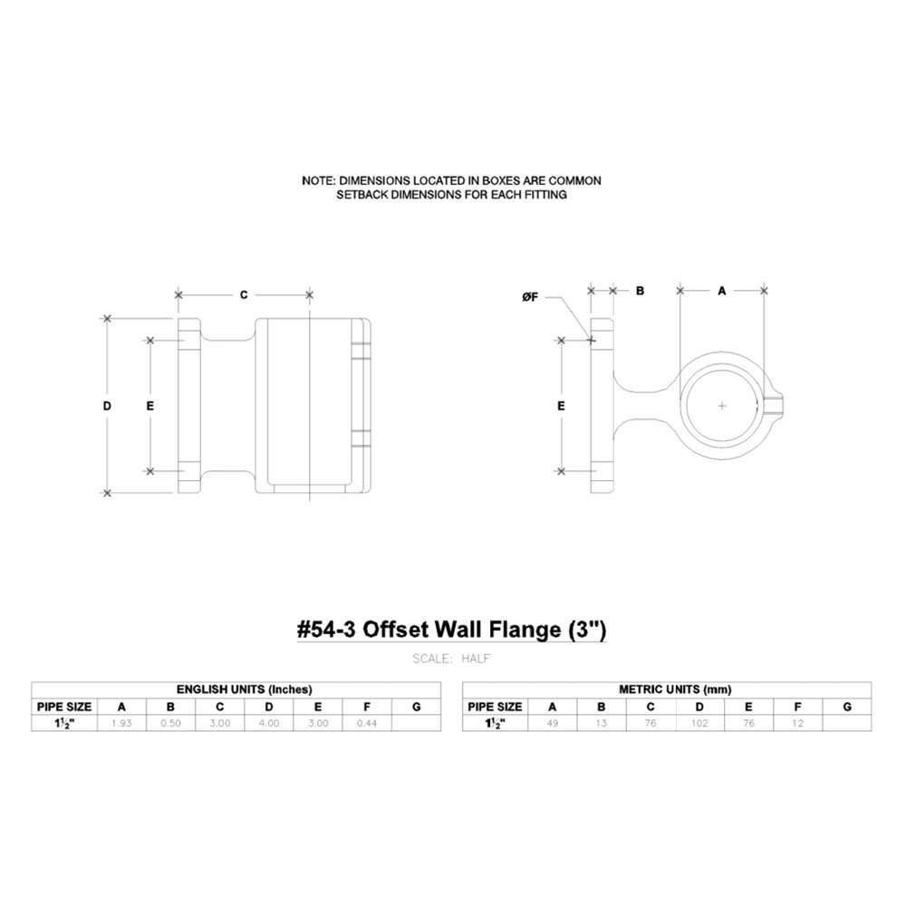 Hollaender 54-3-8 3'' Offset Wall Flange Aluminum Magnesium 1-1/2'' IPS (1.94'' ID)