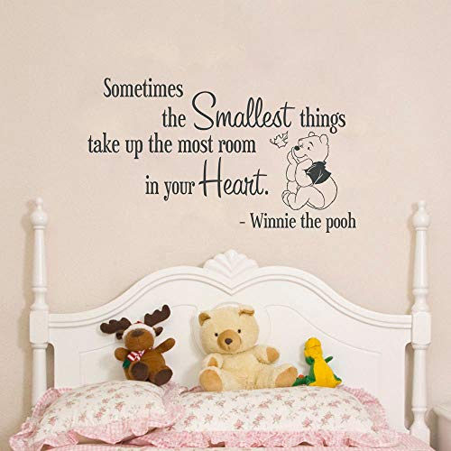 Vinyl Wall Art Inspirational Quotes and Saying Home Decor Decal Sticker Sometimes The Smallest Things take up The Most Room in Your Heart for Nursery Kids Room (Best Things For Your Heart)