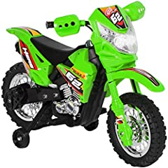 Rev up the engine and grab a helmet, it's time to race! This kid's ride on electric dirt bike has training wheels to keep little bikers safe. Children can conquer the backyard and the outdoors while burning rubber at 2 mph. Our ride on bikes ...