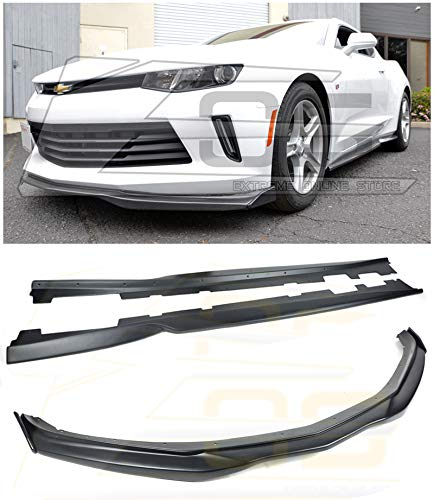 For 2016-2018 Chevrolet Camaro RS Models | EOS T6 Style ABS Plastic PRIMER BLACK Add On Front Bumper Lower Lip Splitter CARBON FIBER Side End Caps With Side Skirts Rocker ()