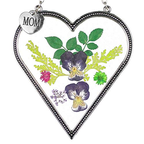 BANBERRY DESIGNS Mom Flower Sun Catcher - Mother Heart Shaped Suncatcher Real Pressed Flowers and Silver Metal Hanging Charm ()