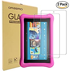 [2 Pack] Orzero For Fire 8 Kids Edition (2017 release) Tempered Glass Screen Protector, 9 Hardness HD Anti-Scratch Bubble-Free [Lifetime Replacement Warranty]