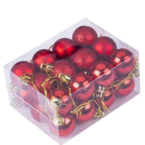 24pcs Christmas Balls Ornament Shatterproof Pendants for Holiday Xmas Garden Decorations (Red.)