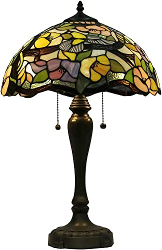 Stained Glass Style Table Lamp W16 H25 Tall Antique Shade Lamp