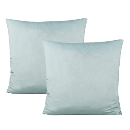 Sensational Light Blue Decorative Velvet Throw Pillow Covers Square Cozy Soft Solid Color Cushion Cases Home Decor For Couch Sofa Bedroom Car 18X18 Inch Set Of 2 Uwap Interior Chair Design Uwaporg
