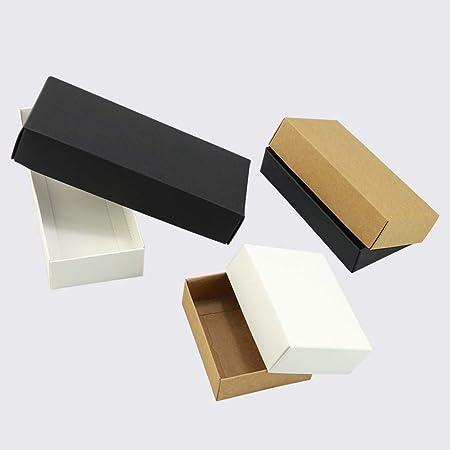 CTOBB - Caja de cartón para Regalo (10 Unidades, Papel Kraft, Caja de Regalo, Caja de cartón con Tapa), Color Blanco ...