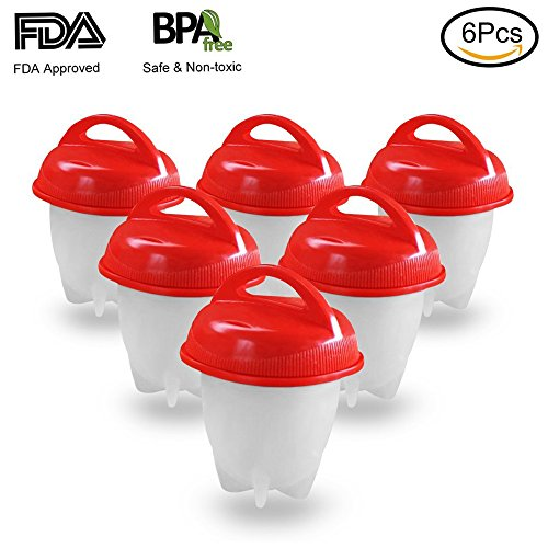 YAHEY Egg Cooker Hard & Soft Maker - BPA Free, Non Stick Silicone, Boiled, Steamer, AS SEEN ON TV,6 pack
